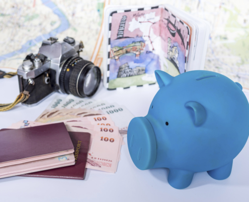 Piggy bank with dream destination sketch, passport book/  saving